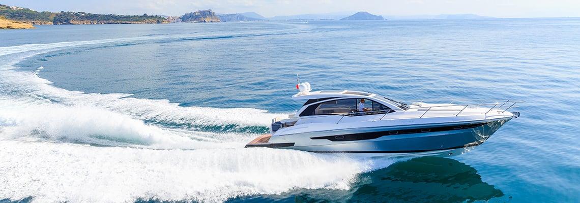 Boat driving on blue ocean